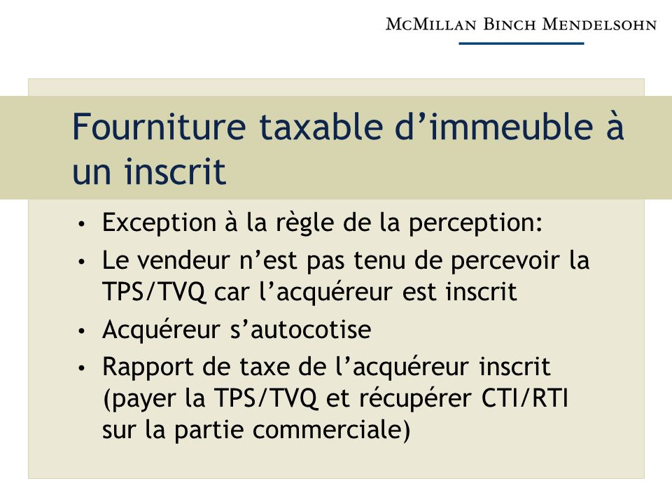 Fourniture taxable d'immeuble à un inscrit