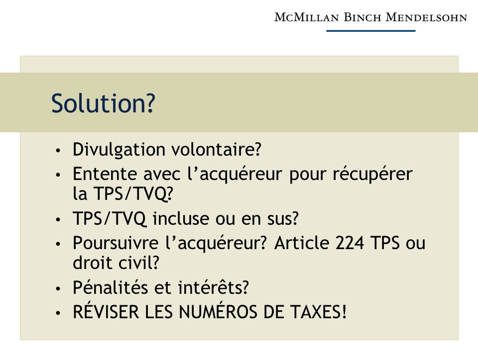 Solution Divulgation volontaire