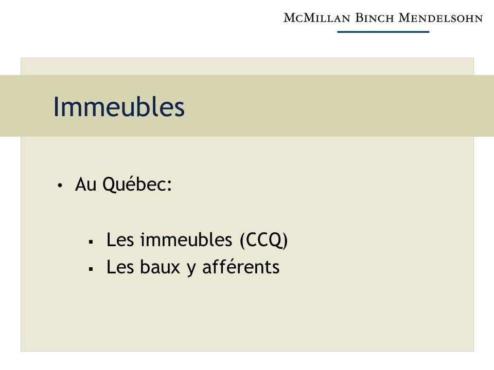 Immeubles Au Québec: Les immeubles (CCQ) Les baux y afférents