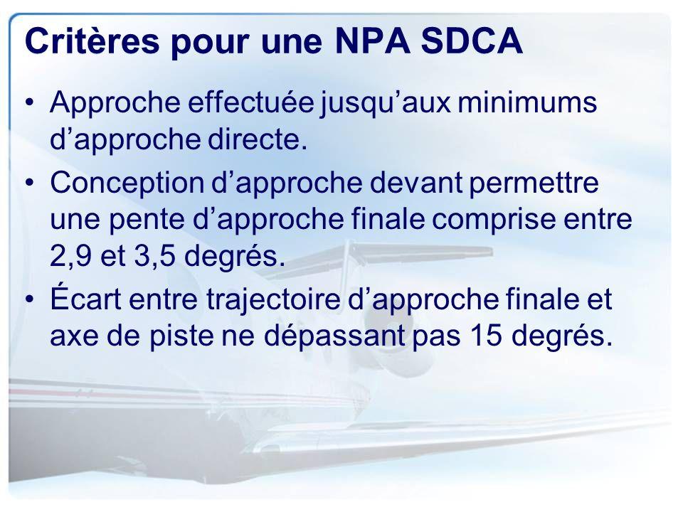 Critères pour une NPA SDCA
