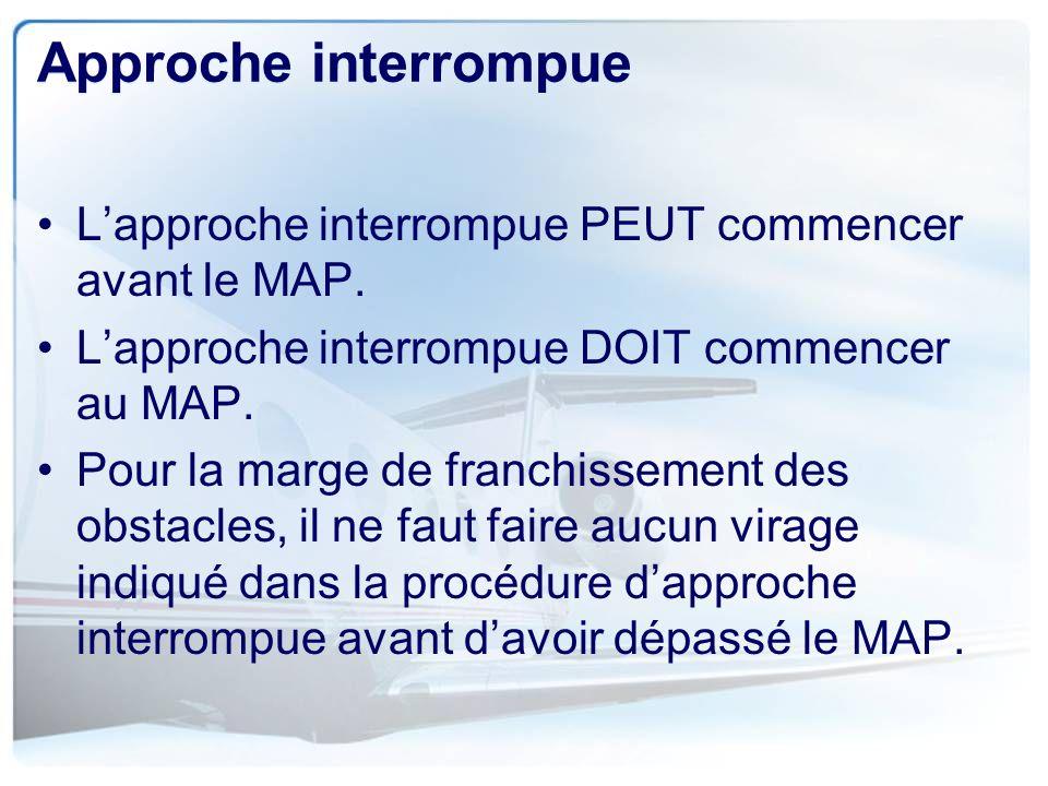 Approche interrompue L'approche interrompue PEUT commencer avant le MAP. L'approche interrompue DOIT commencer au MAP.