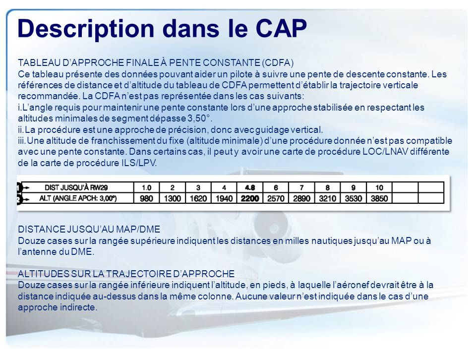 Description dans le CAP