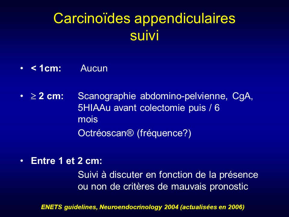 Carcinoïdes appendiculaires suivi