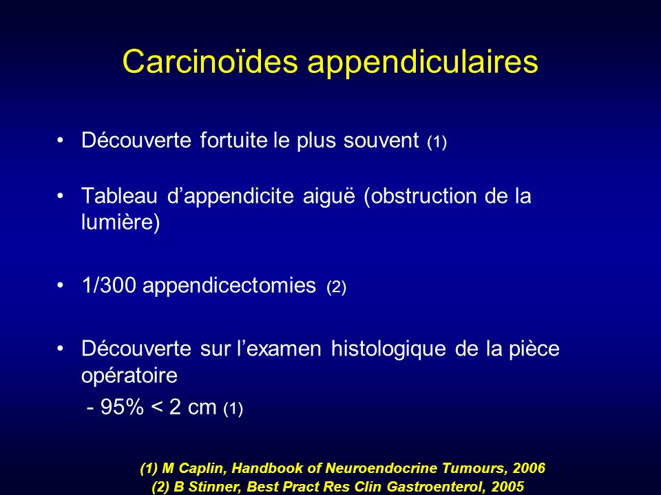 Carcinoïdes appendiculaires
