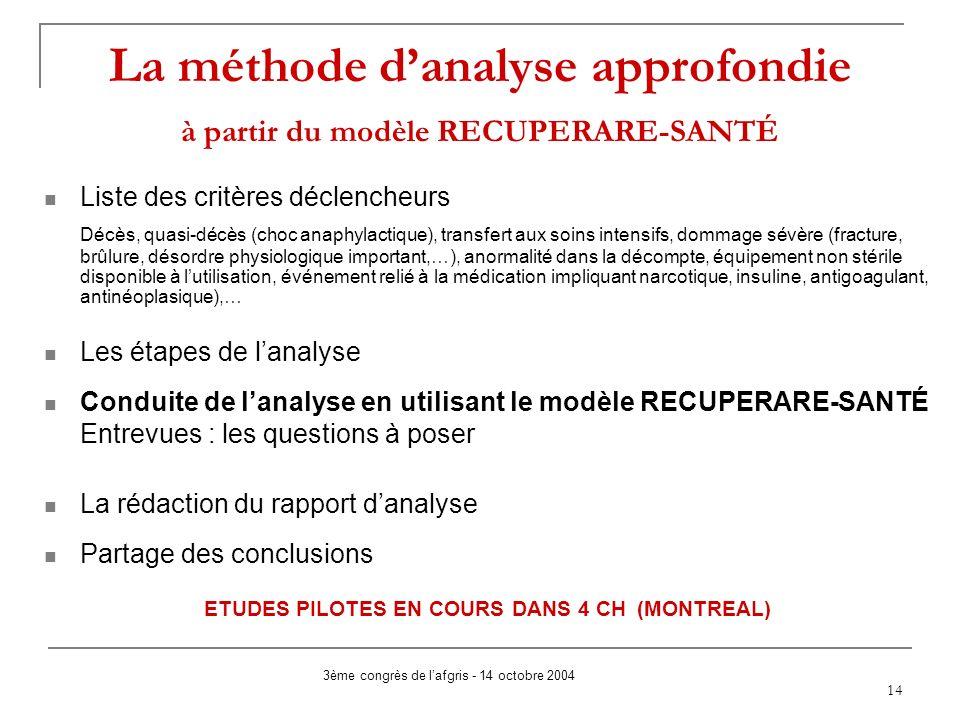 La méthode d'analyse approfondie à partir du modèle RECUPERARE-SANTÉ