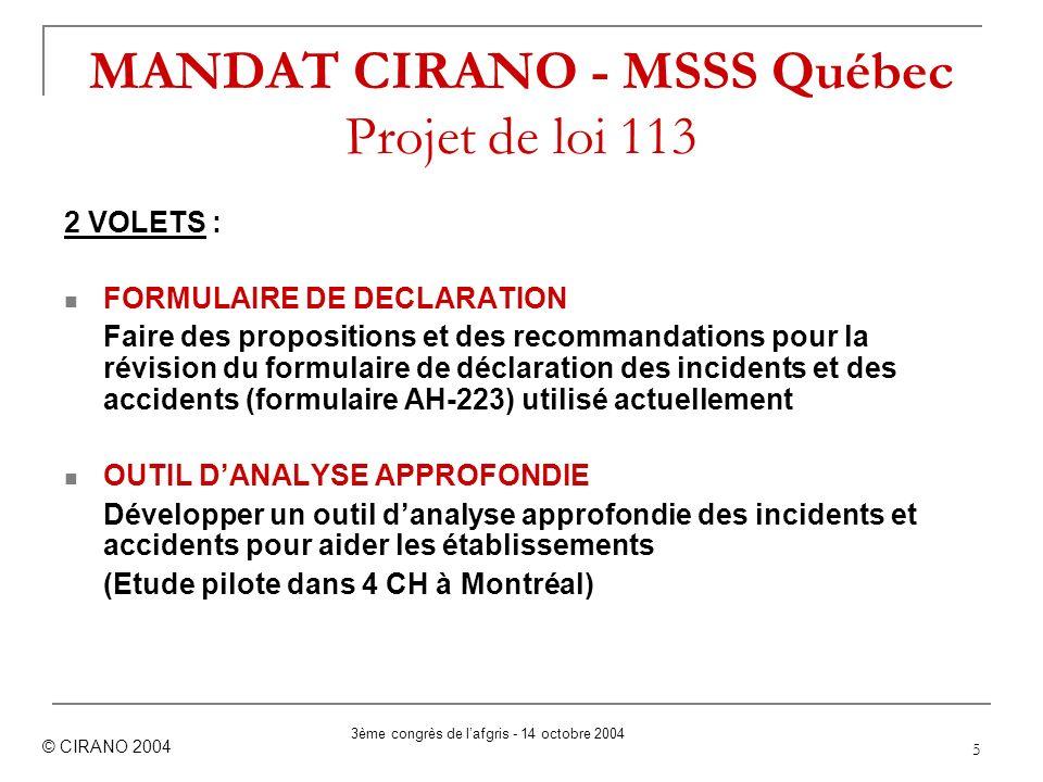MANDAT CIRANO - MSSS Québec Projet de loi 113