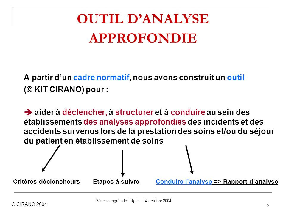 OUTIL D'ANALYSE APPROFONDIE