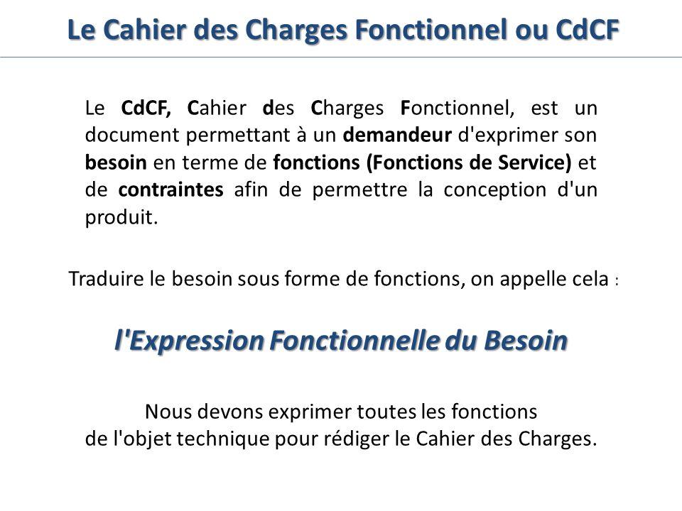 Le Cahier des Charges Fonctionnel ou CdCF