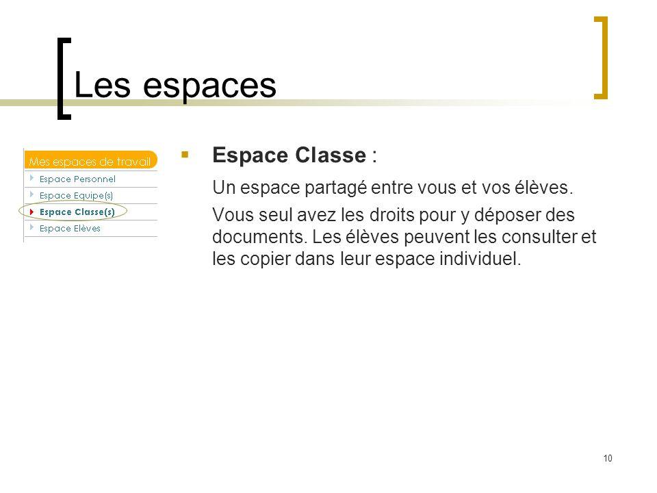 Les espaces Espace Classe :