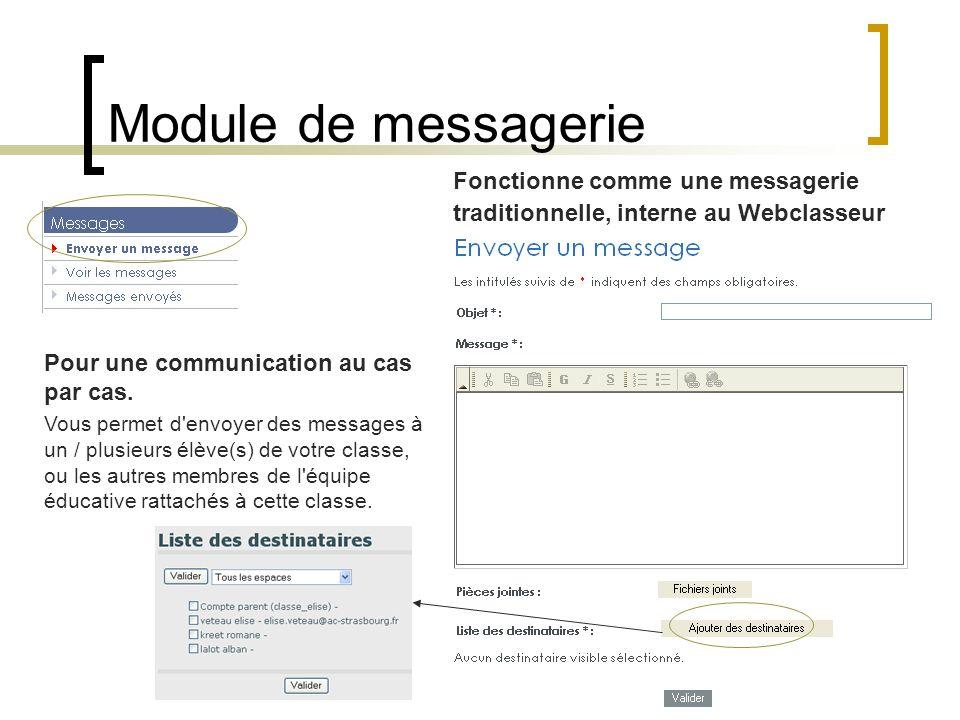 Module de messagerie Fonctionne comme une messagerie traditionnelle, interne au Webclasseur. Pour une communication au cas par cas.
