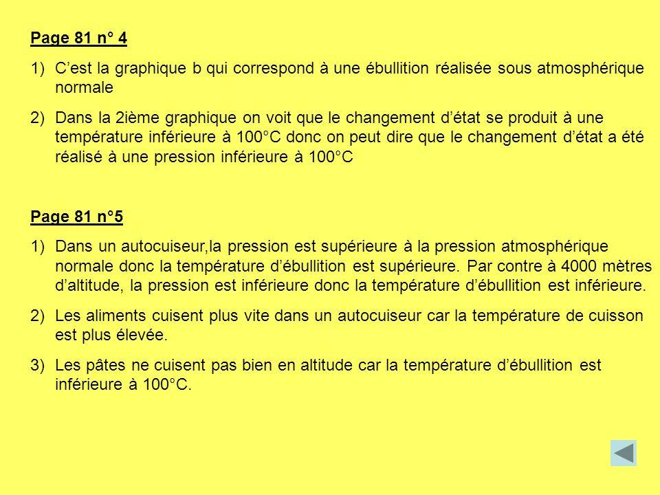Page 81 n° 4 C'est la graphique b qui correspond à une ébullition réalisée sous atmosphérique normale.