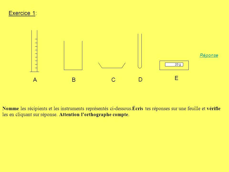 Exercice 1: Réponse. 20 g. E. A. B. C. D.