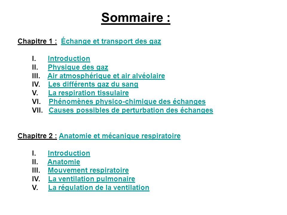 Sommaire : Chapitre 1 : Échange et transport des gaz I. Introduction