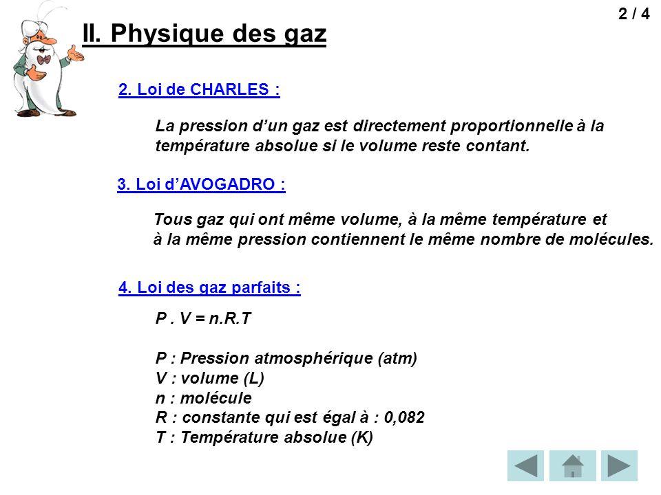 II. Physique des gaz 2 / 4 2. Loi de CHARLES :
