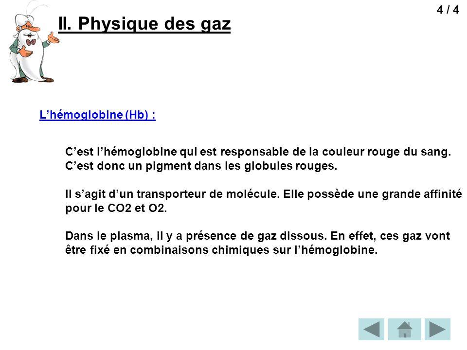 II. Physique des gaz 4 / 4 L'hémoglobine (Hb) :