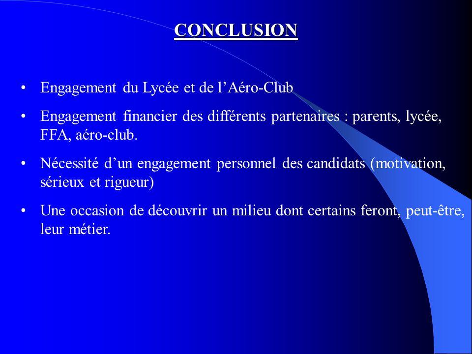 CONCLUSION Engagement du Lycée et de l'Aéro-Club