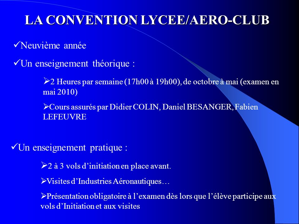 LA CONVENTION LYCEE/AERO-CLUB