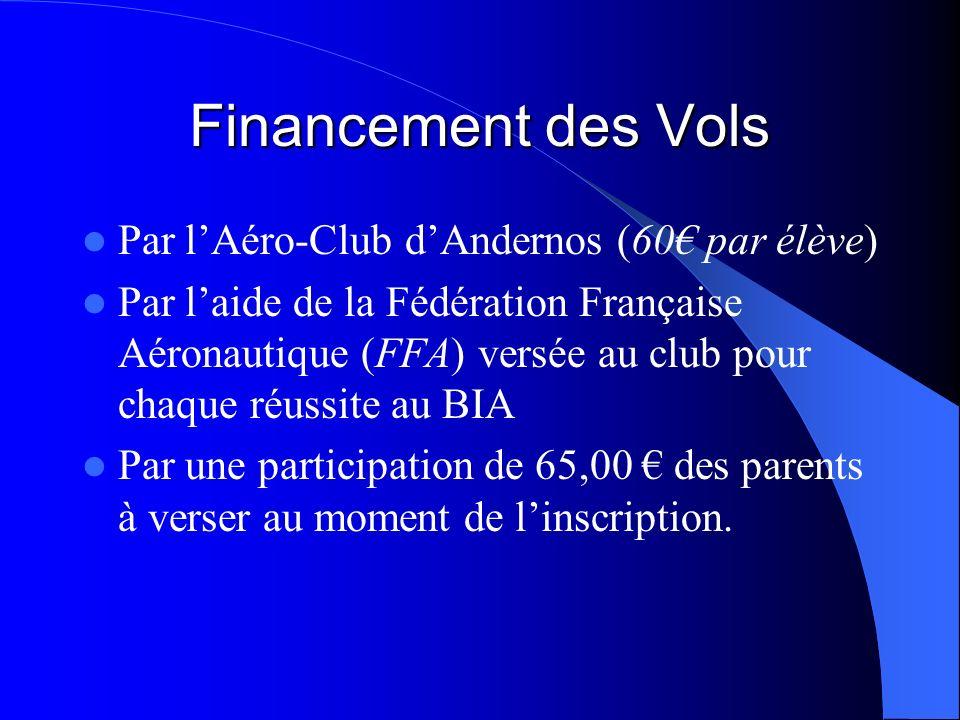Financement des Vols Par l'Aéro-Club d'Andernos (60€ par élève)