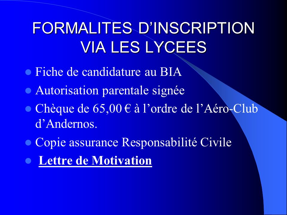 FORMALITES D'INSCRIPTION VIA LES LYCEES