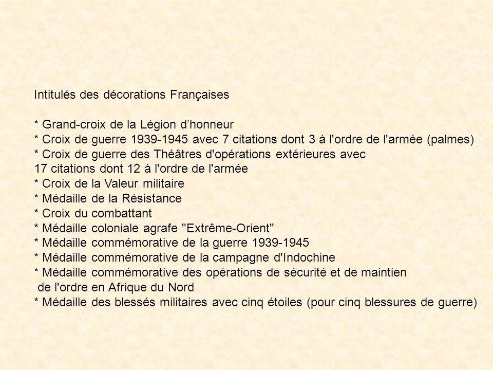 Intitulés des décorations Françaises