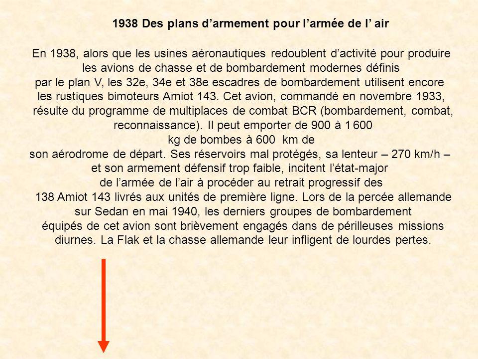 1938 Des plans d'armement pour l'armée de l' air