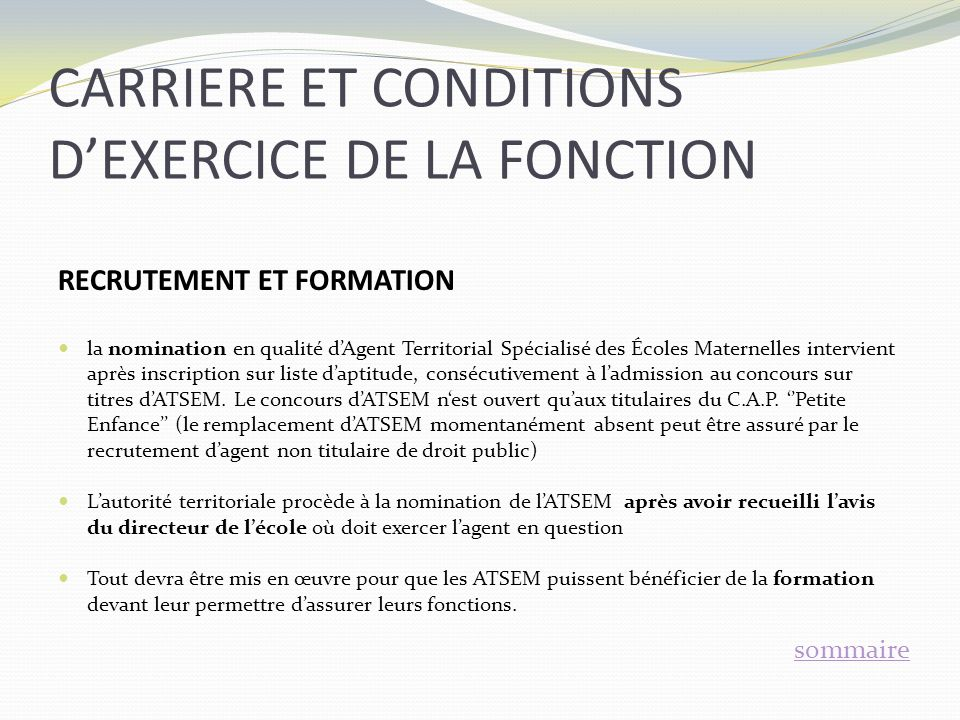 CARRIERE ET CONDITIONS D'EXERCICE DE LA FONCTION