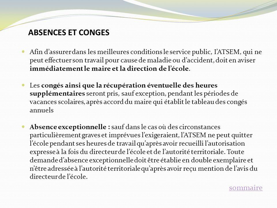 ABSENCES ET CONGES sommaire