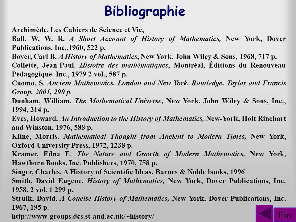 Bibliographie Fin Archimède, Les Cahiers de Science et Vie,