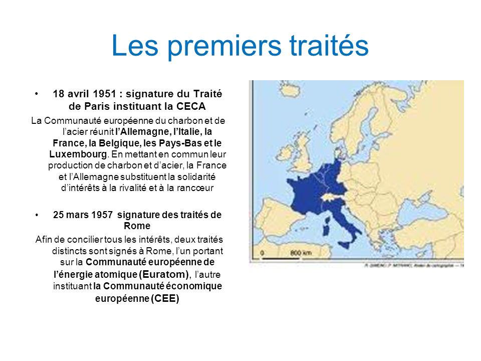 Les premiers traités 18 avril 1951 : signature du Traité de Paris instituant la CECA.