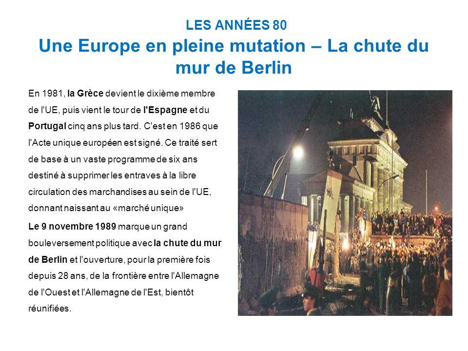 LES ANNÉES 80 Une Europe en pleine mutation – La chute du mur de Berlin