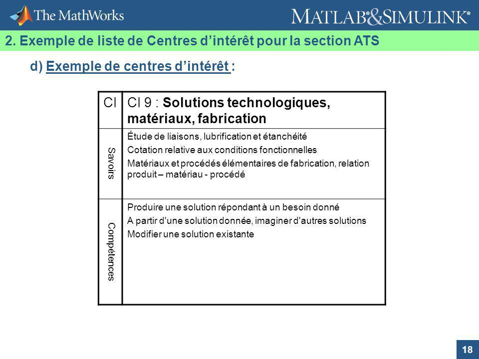 2. Exemple de liste de Centres d'intérêt pour la section ATS