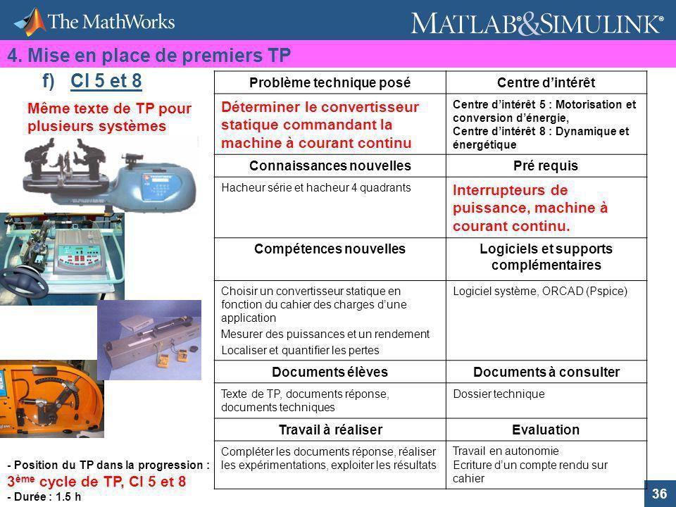 4. Mise en place de premiers TP f) CI 5 et 8