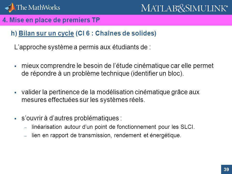 h) Bilan sur un cycle (CI 6 : Chaînes de solides)