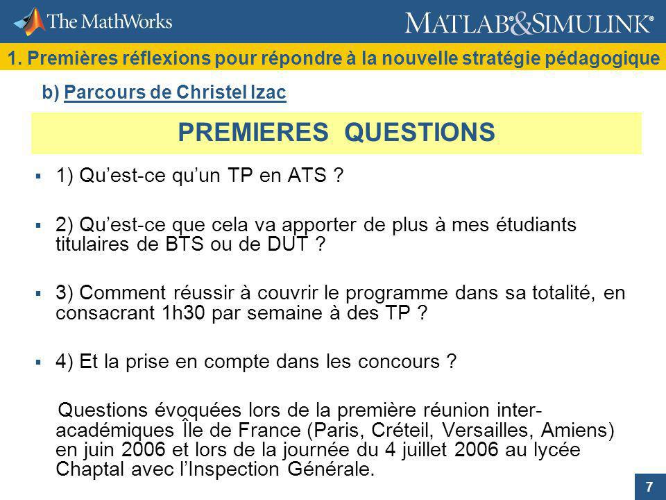 PREMIERES QUESTIONS 1) Qu'est-ce qu'un TP en ATS