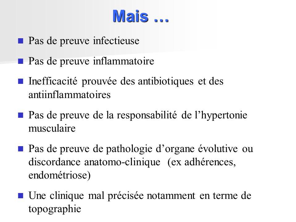 Mais … Pas de preuve infectieuse Pas de preuve inflammatoire