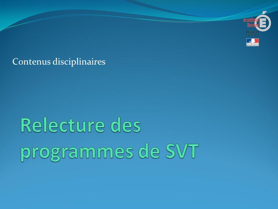 Relecture des programmes de SVT