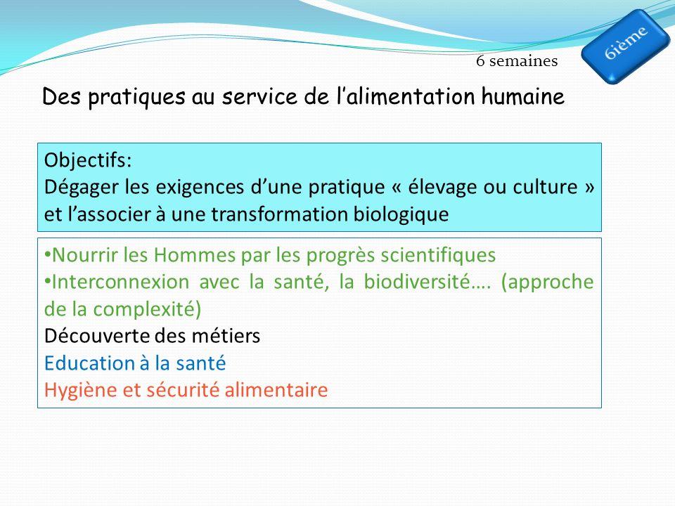 Des pratiques au service de l'alimentation humaine