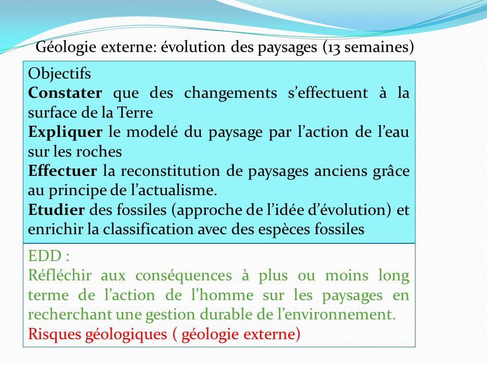 Géologie externe: évolution des paysages (13 semaines)