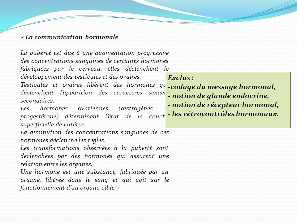 codage du message hormonal, notion de glande endocrine,