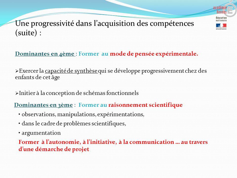 Une progressivité dans l'acquisition des compétences (suite) :