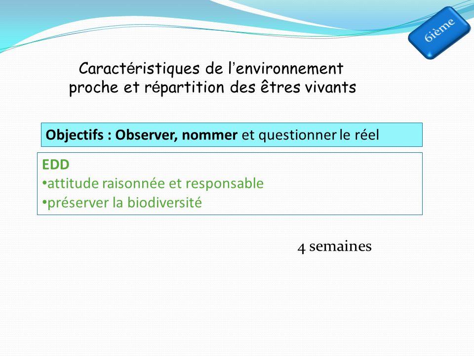 Caractéristiques de l'environnement