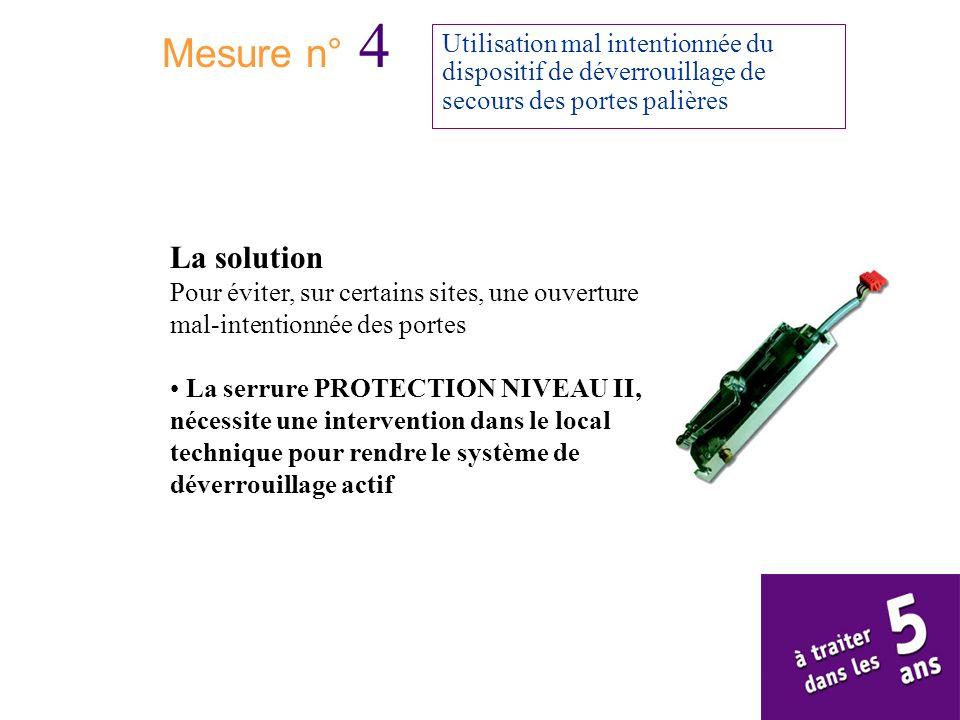 Mesure n° 4Utilisation mal intentionnée du dispositif de déverrouillage de secours des portes palières.