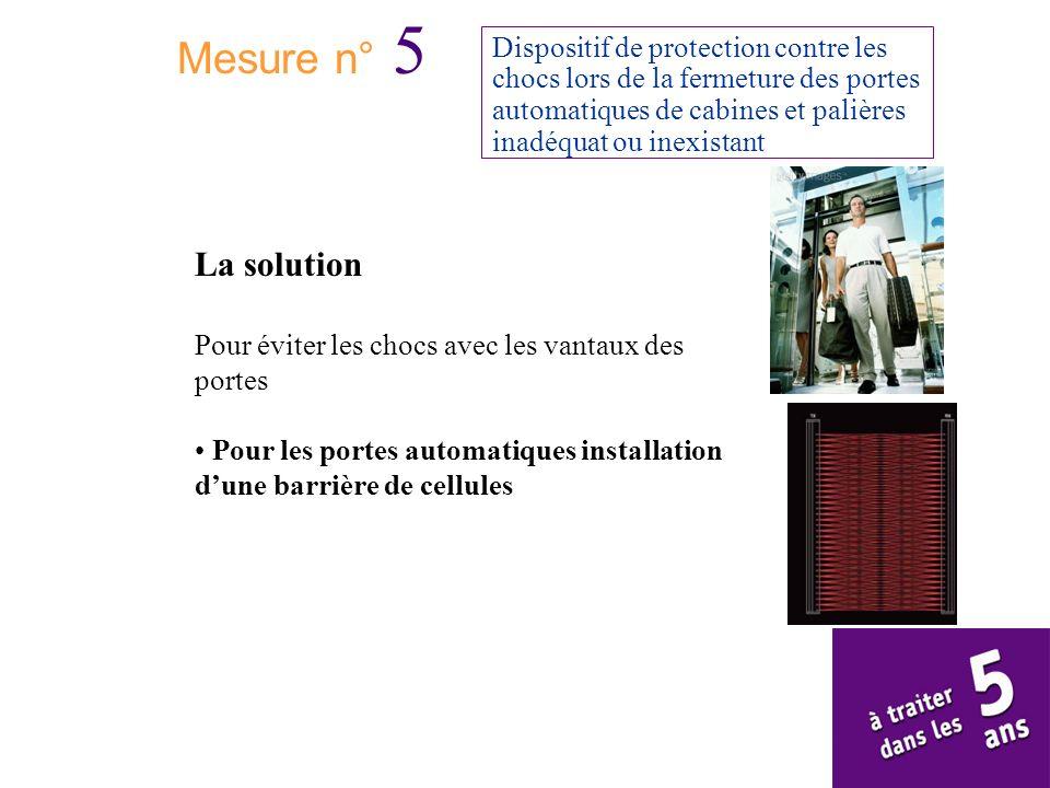 Mesure n° 5 Dispositif de protection contre les chocs lors de la fermeture des portes automatiques de cabines et palières inadéquat ou inexistant.