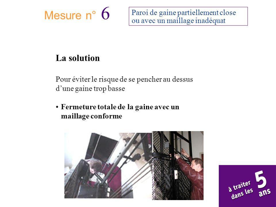 Mesure n° 6Paroi de gaine partiellement close ou avec un maillage inadéquat. La solution.
