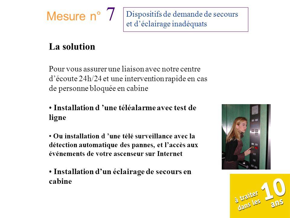 Mesure n° 7Dispositifs de demande de secours et d'éclairage inadéquats. La solution.