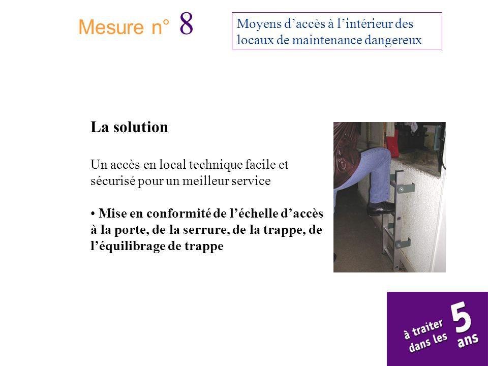 Mesure n° 8 Moyens d'accès à l'intérieur des locaux de maintenance dangereux. La solution.