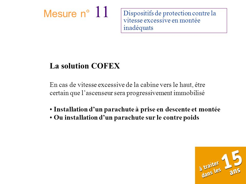 Mesure n° 11 La solution COFEX