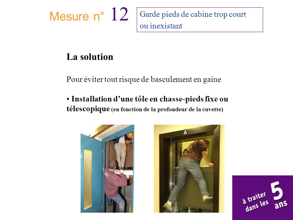 Mesure n° 12 La solution Garde pieds de cabine trop court