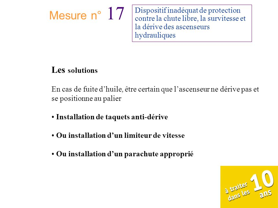 Mesure n° 17 Les solutions