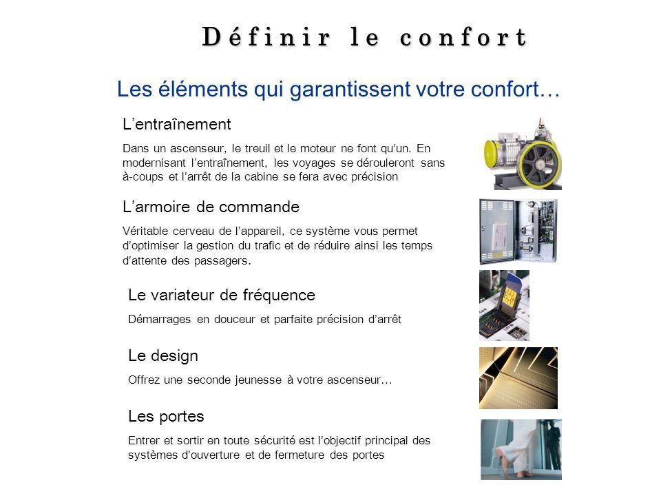 D é f i n i r l e c o n f o r t Les éléments qui garantissent votre confort… L'entraînement.